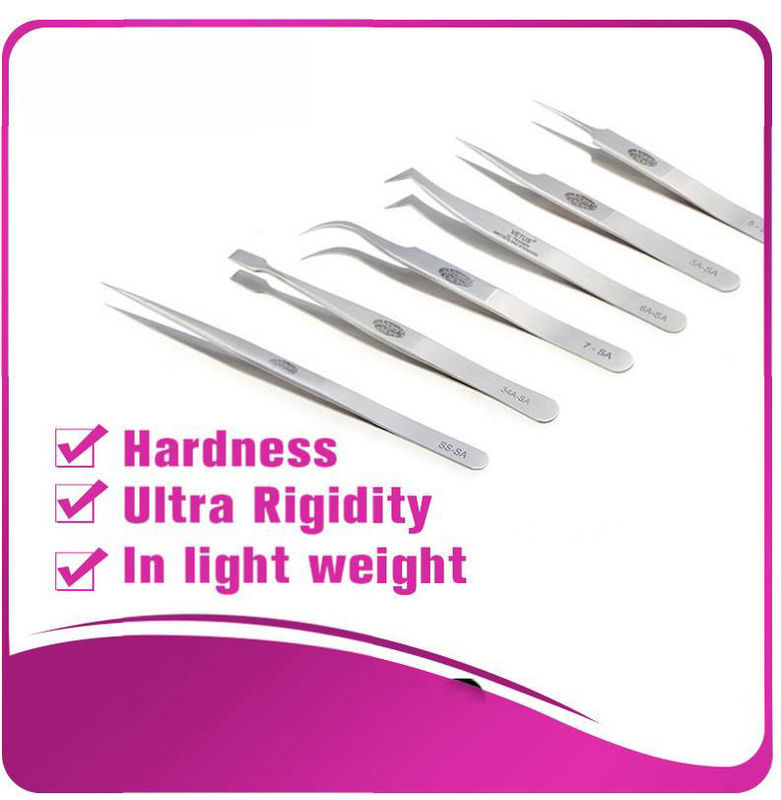 Silver Eyelash Extension Tweezers false eyelash applicator tool anti - scratch